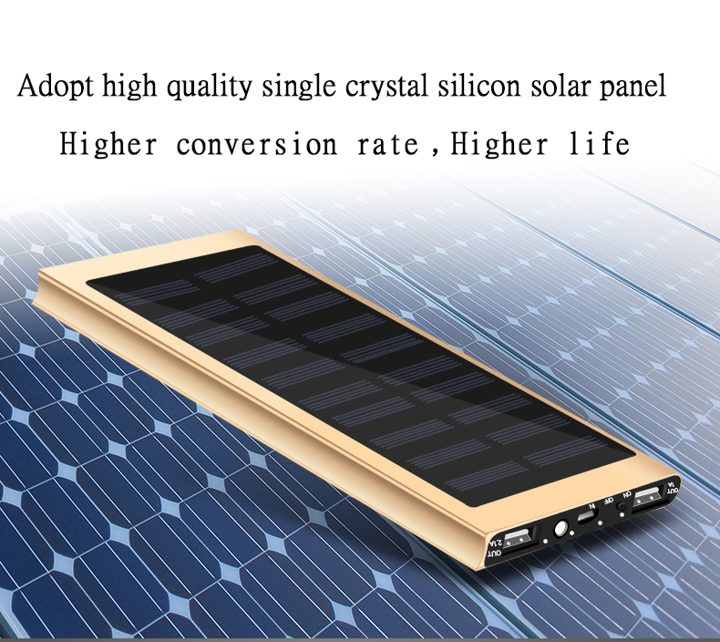 Waterproof 30000mAh Solar Power Bank in Metal Shell Design with Dual-USB Ports 3