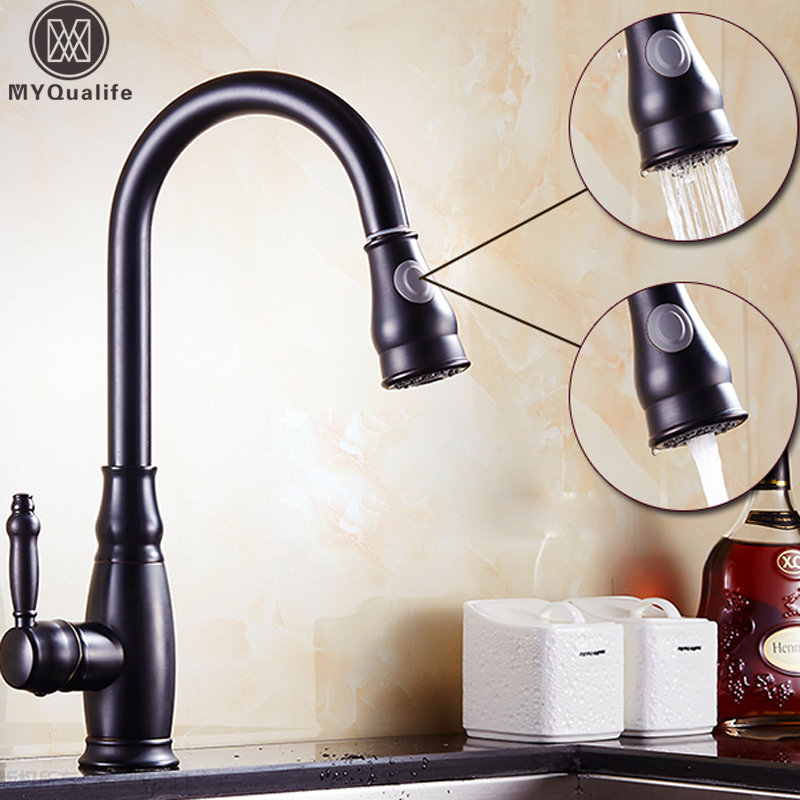 Good Quality Pull Out Dual Sprayer Stream Kitchen Faucet Deck Mount Single Hole Hot and Cold