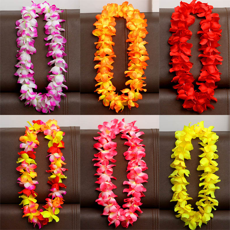 Hawaiian Double Full Red Carnation Flower Leaves Laua Party Silk Lei