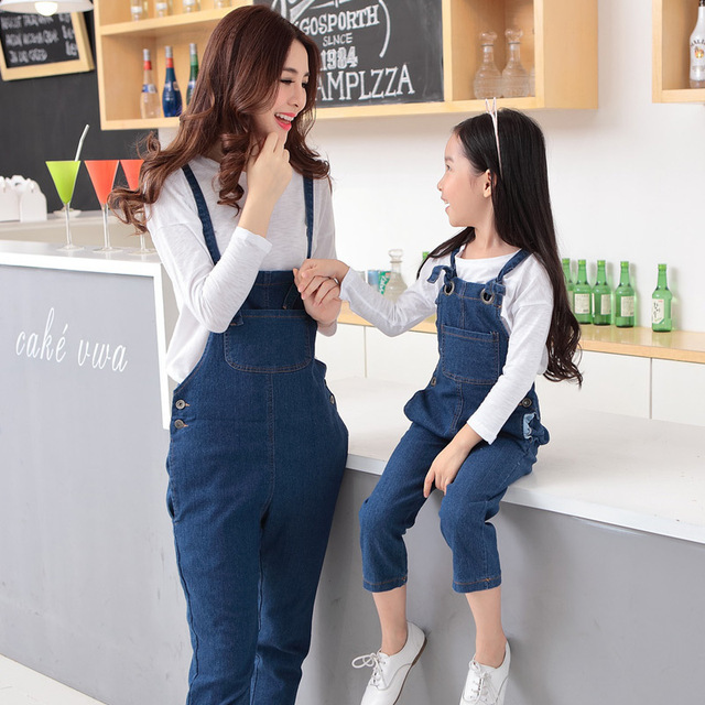 2015 rompers womens jumpsuit bodysuit girls jeans pants matching mother daughter clothes family clothing mommy and me clothes
