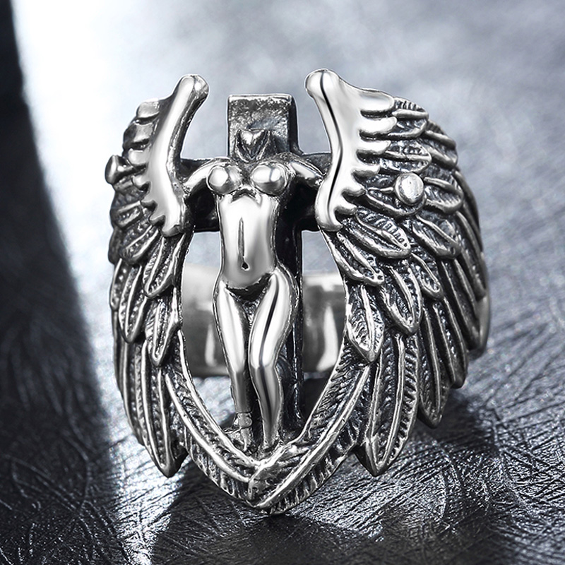 925 Sterling Silver Angel Wings Ring for Men Women Elegant Angle Modeling Thai Vintage Retro Charm Jewelry for Christian Holy