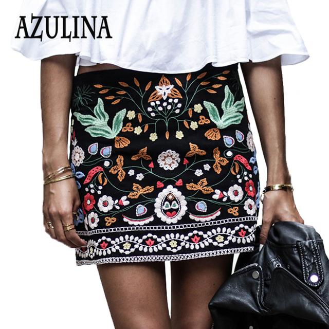 Azulina bordado mujeres de la falda de algodón floral de cintura alta negro informal femenina corto verano de la primavera vintage mini faldas boho étnico