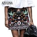 Azulina bordado saia floral de algodão mulheres cintura alta ocasional preto curto feminino primavera verão vintage mini saias boho étnica