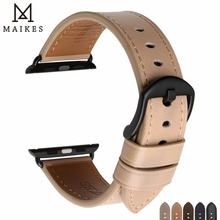 MAIKES Top Genuine Leather Watch Strap Replacement For Apple Watch Band 44mm 40mm 42mm 38mm Series 4 3 2 1 iWatch Watchbands tjp series 2 1 genuine brown vintage italy calf leather watchbands strap for apple watch iwatch 38mm 42mm wristband with adapter