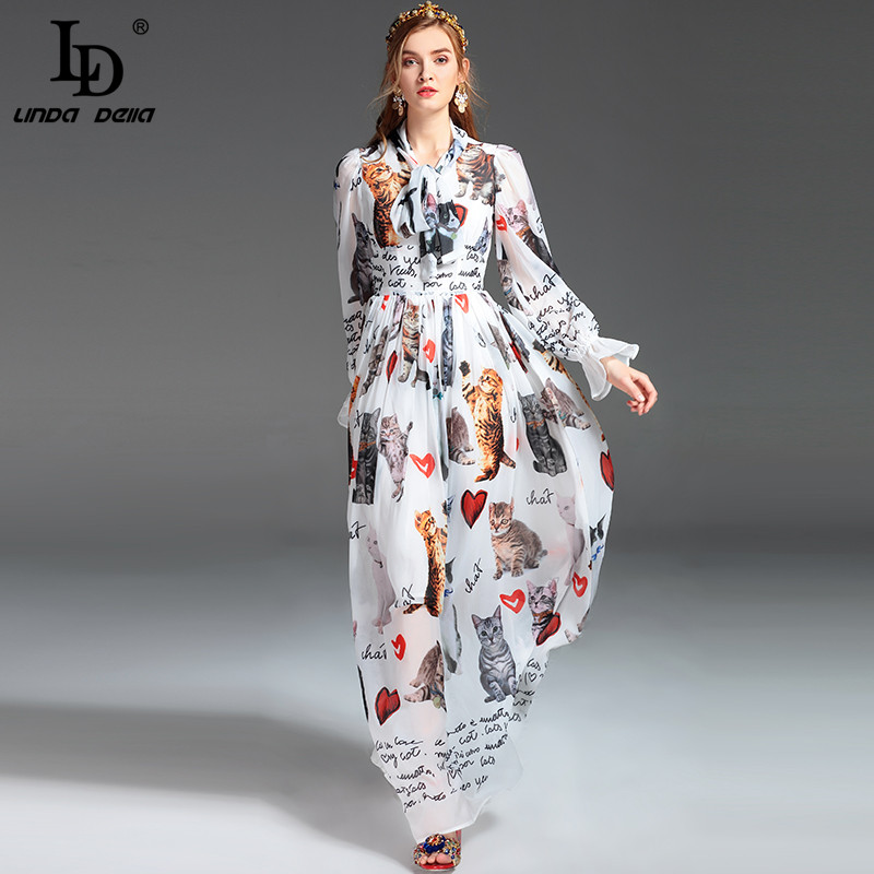 High Quality New Fashion Designer Runway Maxi Dress Women s Long Sleeve Casual Animal Cat Letter