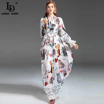 High Quality New Fashion Designer Runway Maxi Dress Women's Long Sleeve Casual Animal Cat Letter Printing Long Dress - DISCOUNT ITEM  20% OFF All Category