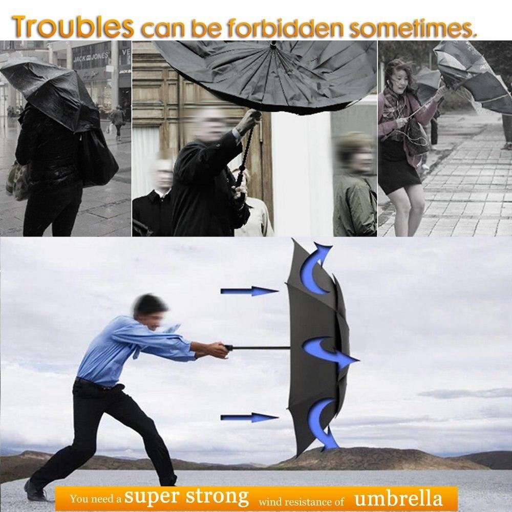 Image 5 - 130cm Umbrella Rain Women Men 3Folding Portable Double Layer Outdoor Large Paraguas Strong Windproof Business For Men UmbrellasUmbrellas   -