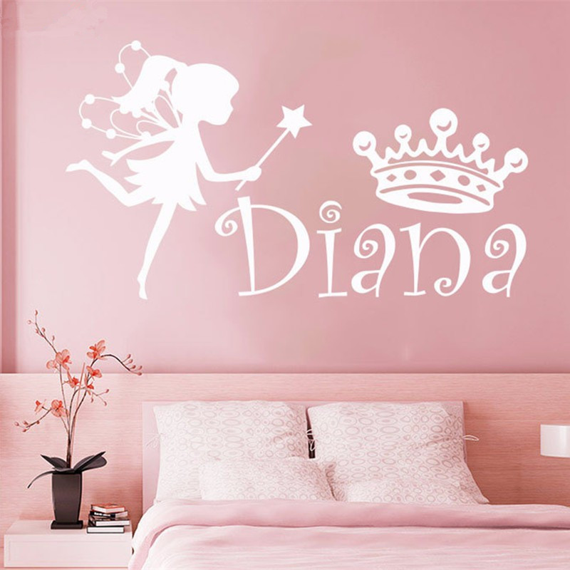 DIY Wall Decal Custom Girl Name Fairy Crown Sticker Personalized Name Nursery Baby Kids Bedroom Vinyl Sticker Home Decor D-84