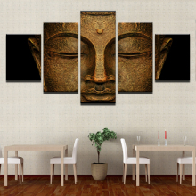 5 Pieces Statue Of The Buddha Canvas Poster Wall Art Framework HD Prints Buddhism Face Pictures Paintings Living Room Home Decor