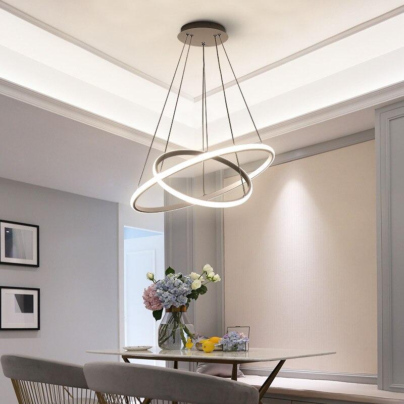 Café noir blanc couleur moderne pendentif lumières pour salon salle à manger 3/2 cercle anneaux LED éclairage plafonnier luminaires