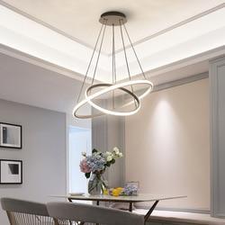 Kaffee Schwarz Weiß Farbe Moderne anhänger lichter für wohnzimmer esszimmer 3/2 Kreis Ringe LED Beleuchtung decke Lampe leuchten
