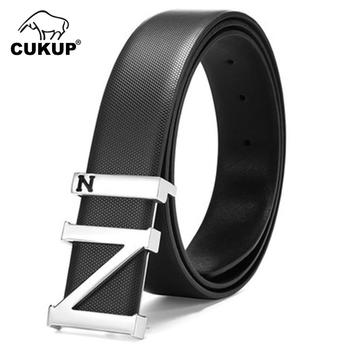 CUKUP Brand Name Quality Cow Cowhide Men Male Fashion Blue Z Letter Smooth Buckle Men's 3.3cm Wide Belt for Men Trousers PXCK86 fashionable crocodile and letter z shape inlay design auto buckle belt for men