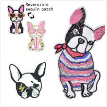 1 Pc Cute French Bulldog dengan Busur Dasi Sutra/Kepala Jantung Kacamata Anjing Patch Bros Lencana Bordir Kain patch Bulldog Pecinta(China)