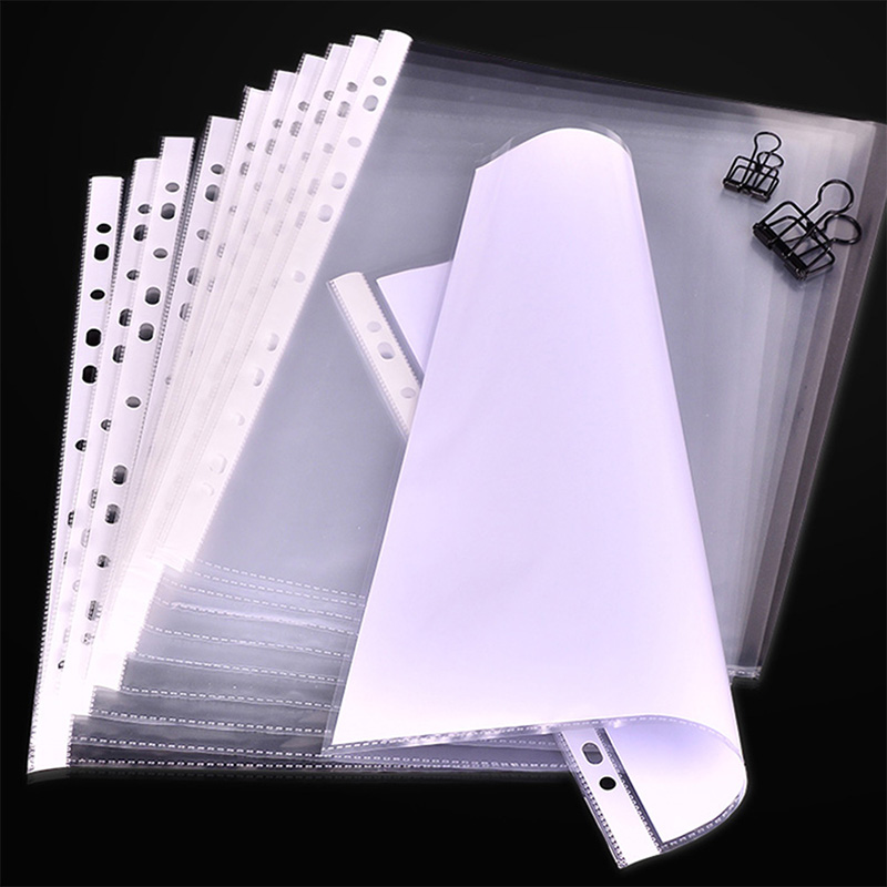 100Pcs/Lot A4 Clear Plastic Punched Pockets Folders Filing Thin 11Holes Loose Leaf Documents Sheet Protectors(China)