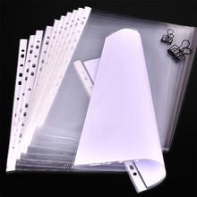 100Pcs/Lot A4 Clear Plastic Punched Pockets Folders Filing Thin 11Holes Loose Leaf Documents Sheet Protectors