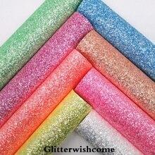 Glitterwishcome 21X29 см A4 размеры синтетическая кожа, Fluo Коренастый блестящая кожаная ткань винил для Луки, GM045A