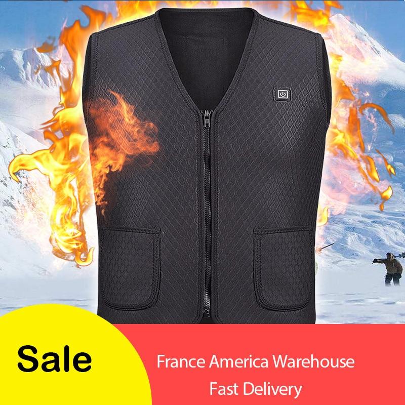 2018 nuevos hombres y mujeres eléctrico chaleco ropa calefacción chaleco térmico de chaqueta de invierno de calefacción chaleco táctico de la nave