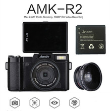 AMKOV Digital SLR Camcorder AMK-R2 3.0 CMOS TFT LCD 1080P HD 24MP Wide-angle Lens Digital Camera+Extra 1 Battery+Card Reader