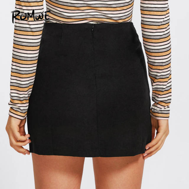 f0283c61ecb80 US $13.99 45% OFF ROMWE Ladies Grommet Lace Up Detail Plain Skirt Autumn  Short Skirts Women 2019 New Fashion Black A Line Casual Skirt-in Skirts  from ...