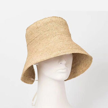 d4bbe64a47e 2018 Funny High Crown hand knitting Raffia Bucket Hats Runway Style  Vacation Sun hat