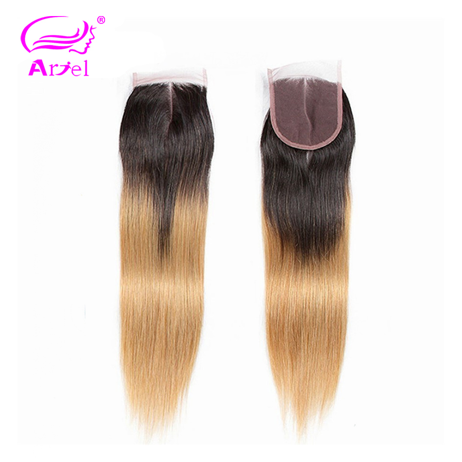 ARIEL Hair Ombre 1b/27 4*4 Top Lace Closure Free/Middle/Three Part Swiss Lace Brazilian Remy 100% Human Hair Straight Closure