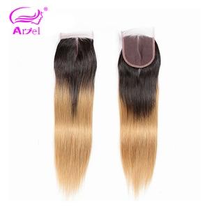 Image 1 - ARIEL Saç Ombre 1b/27 4*4 Üst Dantel Kapatma Ücretsiz/Orta/Üç Bölüm İsviçre Dantel brezilyalı Remy % 100% Insan Saçı Düz Kapatma