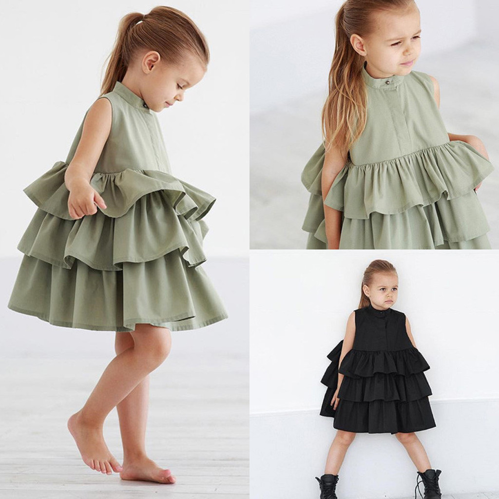 Cupcake Dress Tutu Holiday-Costumes Travel Toddler Ruffled Baby-Girls Kids Sleeveless