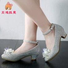 2018 autumn new girls' crystal shoes, Korean models, piano models, silver shoes, children's high heeled princess shoes босоножки no pink crystal high heeled princess shoes