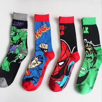 Harajuku Mens Socks Cotton Cute Super Hero Superman Batman Hulk Spiderman Cosplay Funny Long High Quality