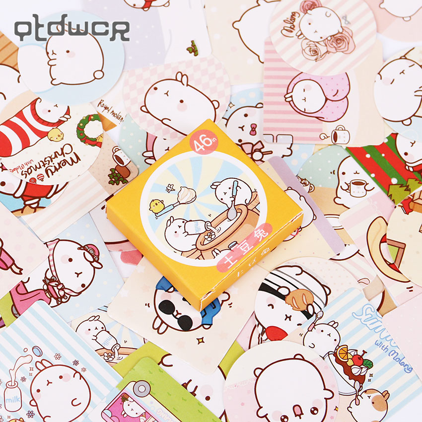 92PCS Molang Rabbit Diary Stationery Stickers Post it Kawaii Planner Scrapbooking Sticky Escolar School Supplies 45pcs lot cute petal decorative diy diary stickers post it kawaii planner scrapbooking sticky stationery escolar school supplies