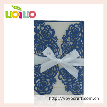 Rose wedding invitation card wedding favor royal blue vintage invitation card with envelop and matching rsvp card