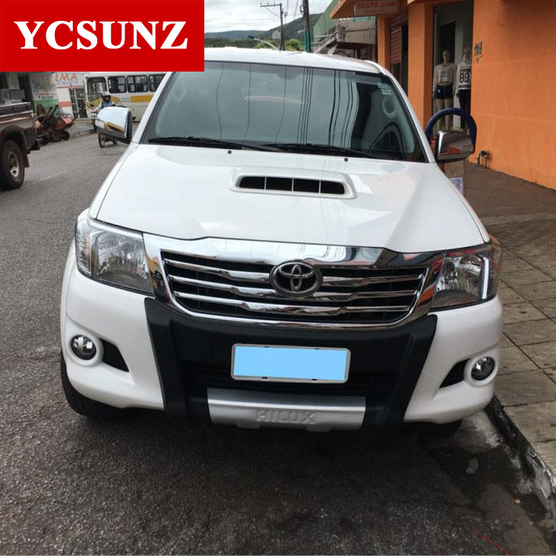 For Toyota Hilux Accessories ABS Chrome Front Grill Cover For Toyota Hilux Vigo 2012 2013 2014 car-styling For Toyota Ycsunz 2016 toyota hilux revo window accessories abs chrome window gate trim for toyota hilux revo 2015 2016 chrome decoretive trim