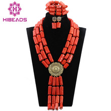 Exclusive Wedding Coral Beads Jewelry Set Chunky Bib Bridal Coral Necklace Set Occassions QW1072