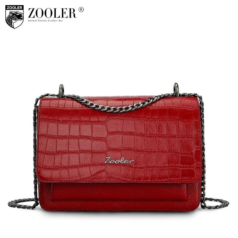 ZOOLER genuine leather bag shoulder bag chain cross body alligator pattern women messenger bag chains hot bolsa feminina #B136 lipstick chain cross body bag