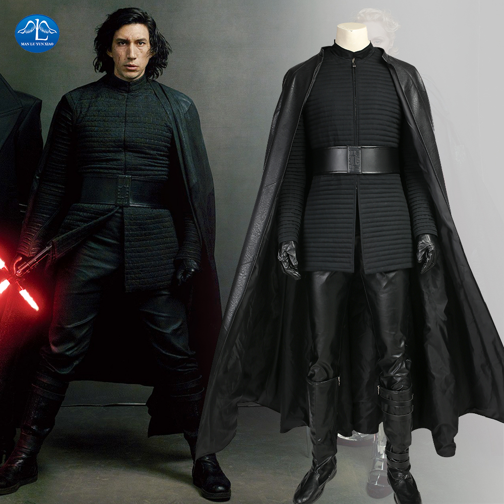 MANLUYUNXIAO New Star Wars The Last Jedi Kylo Ren Costume Men Halloween Kylo Ren Cosplay Costume For Men Full Set Custom Made