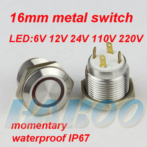 1PCS HABOO EP sereies dia.16mm electric push button switch 1NO reset metal switch with led lights IP67