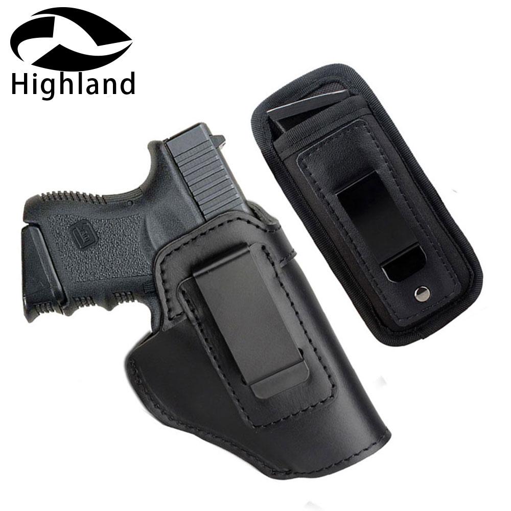 Jagd Universal Tactical Pistole Fall Pistole Holster Leder Verdeckte für Beretta 92 Glock 17 19 22 23 M & P pistole Holster