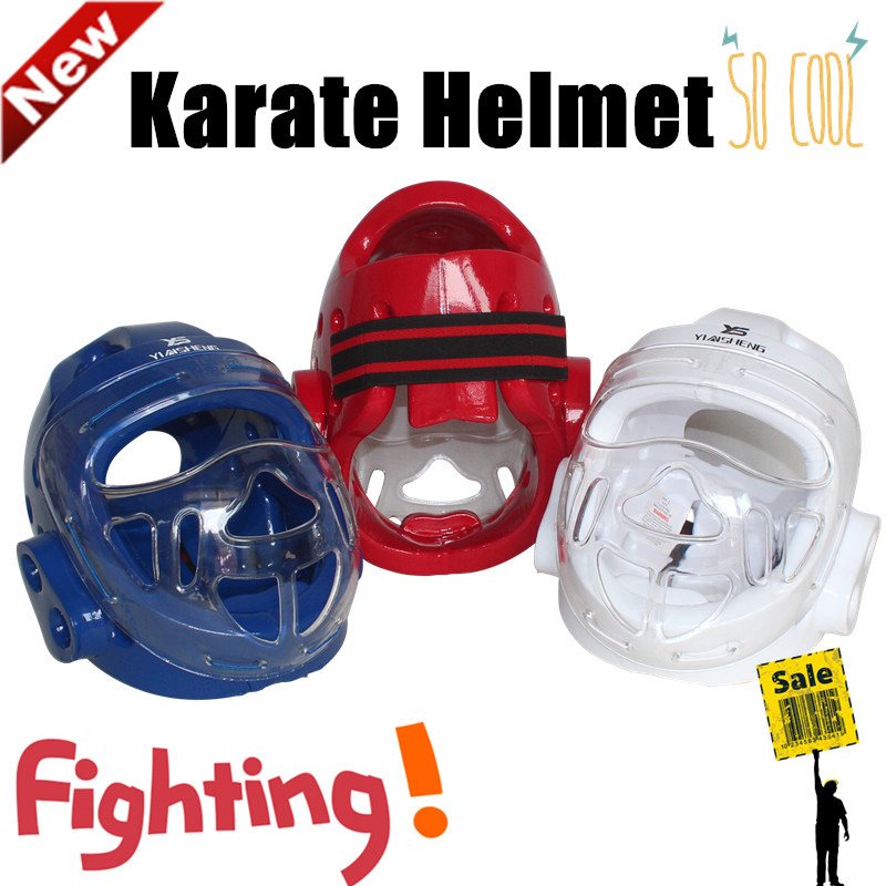 White Karate Helmet adult Children size Head Protector Red Taekwondo Headgear Martial art fighting face mask safety helmets Blue