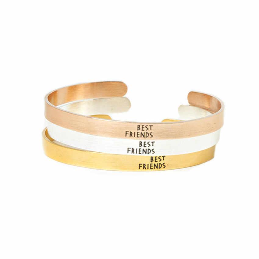 Модные женские Нержавеющаясталь гравировкой Best друг браслет из розового цвета: золотистый, серебристый Цвет дружбы Браслеты Выпускной подарки