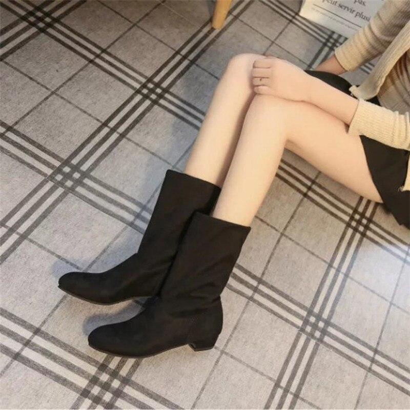 Mujer Australie Bottes Hiver 2018 Élégant Qualité Doux Neige Botas Femmes Plat Chaussures De Noir Femme Haute Troupeau Automne gbf7yY6