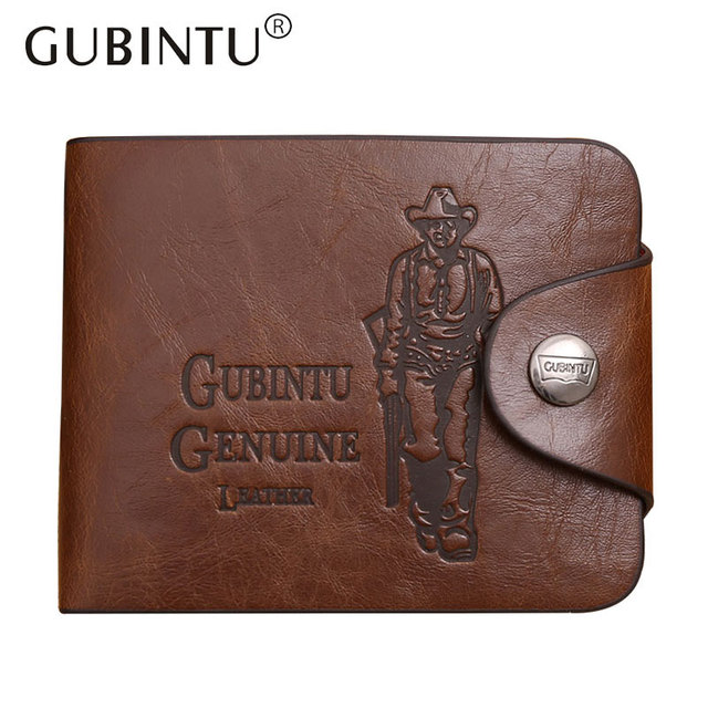 talla 40 e5ce9 be62c € 4.49  Gubintu clásico Retro Vintage hombre cazador café crazey Horse pu  billetera de cuero cartera monedero para hombres carteras bolso del dinero  ...
