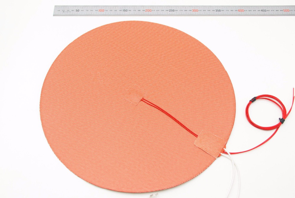 Funssor Dia. 500mm round Silicone Rubber Heater Mat 110V/220V 800W heated bed 50cm for Reprap Delta Kossel 3D printer funssor 500mm 120v 500w round polyimide film heater bed ntc3950 thermistor for diy delta kossel 3d printer