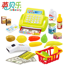 Pretend Play Simulation Electronic Supermarket Cash Register Toys With Foods Money Educational Furniture Toys For Girls Gifts