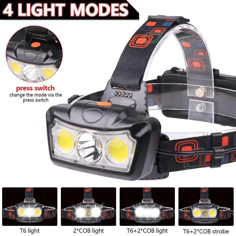 Puissant LED phare T6 + COB phare LED lampe frontale lampe torche lanterne lampe frontale utilisation 2*18650 batterie pour le Camping