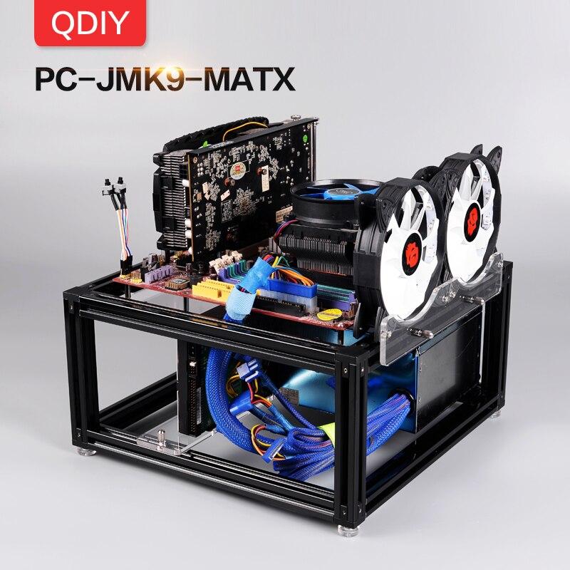QDIY PC-JMK9 Novo Personalizado MicroATX Aberto Plataforma Bloco Refrigerado A Água Computador PC Frame Da Liga de Alumínio