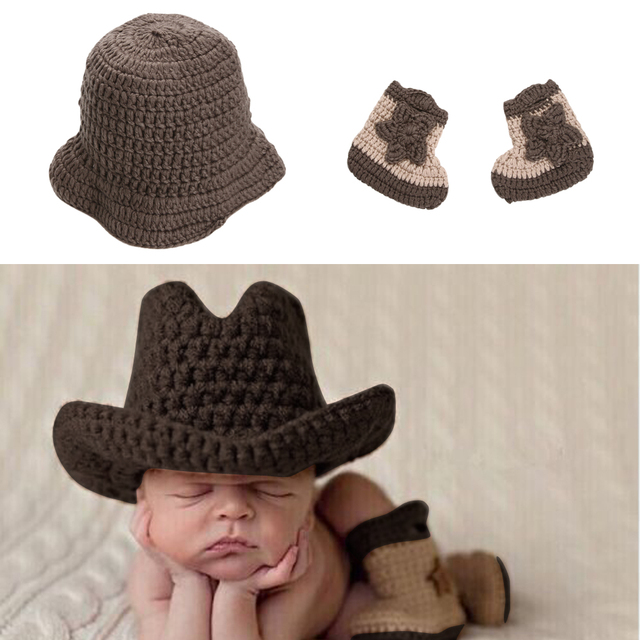 d82639c37846 Newborn Handmade Baby Photo Props Infant Knitted Cowboy Costume Hat ...