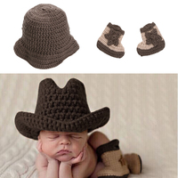 Newborn Handmade Baby Photo Props Infant Knitted Cowboy Costume Hat Boots Photography Props