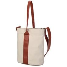 2018 New Summer Women Canvas PU Leather Shoulder Beach Bag Female Casual Tote Handbags Shopping Crossbody Big Messenger Bags