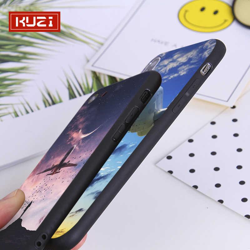 Kuzi Keren Pesawat Pola Kasus Mewah untuk iPhone X X 8 7 6 S Plus TPU Silikon Case Penutup untuk iPhone XR 8 Coque Fundas Capa