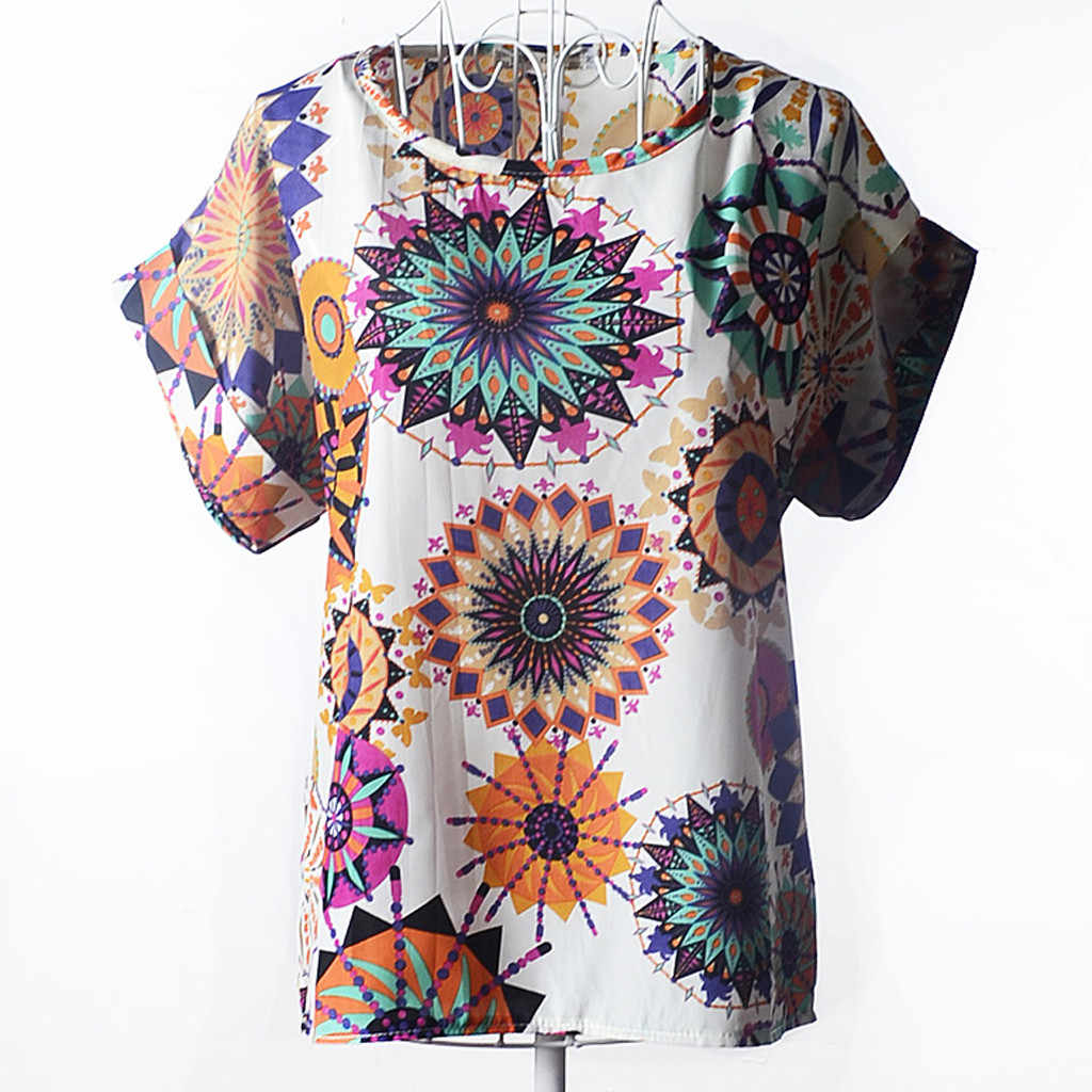 blusas mujer de moda 2019 women's blouse shirt Women Short Sleeve O-Neck Casual Retro Psychedelic  Print  Chiffon Shirt Blouse